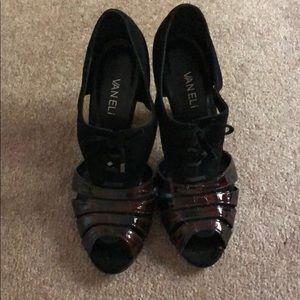 Black Vaneli Tie Front Peep Toe Heels